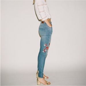 High Waisted Embroidered Ankle Jean Leggings